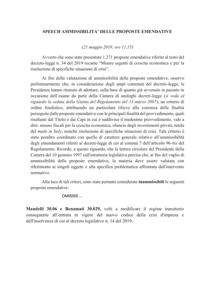 [2019-05-22]C. 1807-speech ammissibilità[estratto]